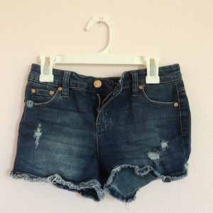 low-waisted denim ripped shorts